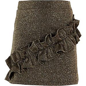 Mini-jupe noire à paillettes et volants fille