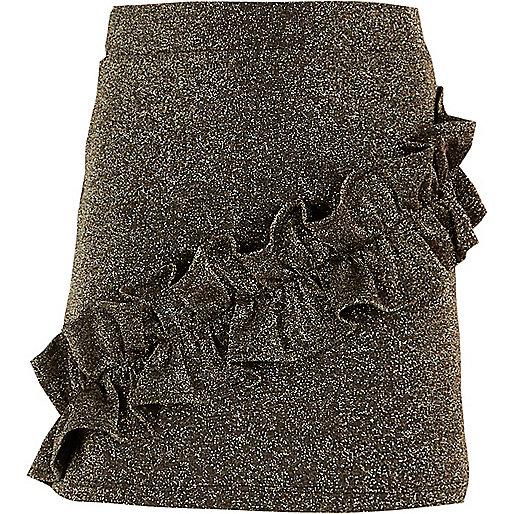 Girls black glitter frill mini skirt