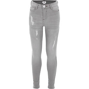 Girls light grey ripped Amelie skinny jeans