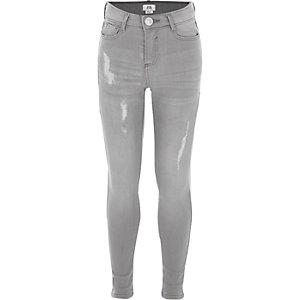 Amelie - Lichtgrijze gescheurde skinny jeans voor meisjes