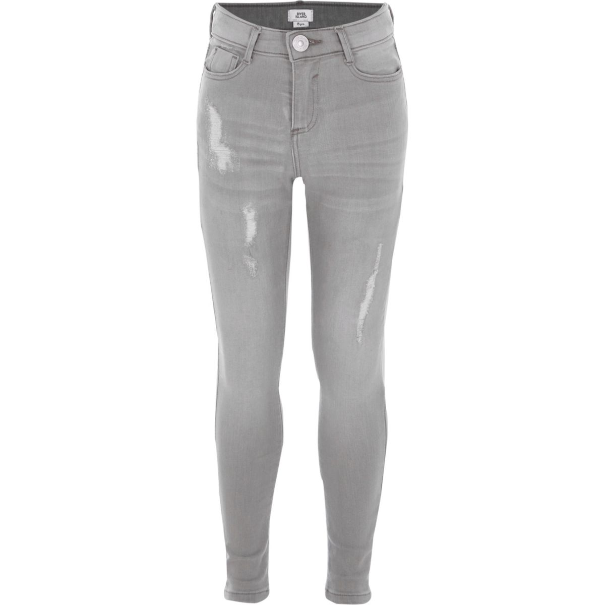 Girls light grey ripped Amelie skinny jeans