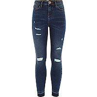 Girls dark blue ripped Amelie skinny jeans