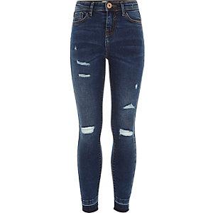 Amelie - Donkerblauwe ripped skinny jeans voor meisjes