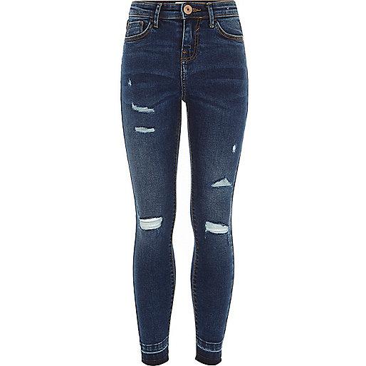 Girls dark blue ripped Amelie skinny jeans