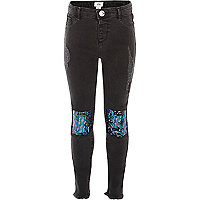 Girls black sequin knee patch Molly jeggings