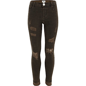 Girls khaki oil wash ripped Molly jeggings