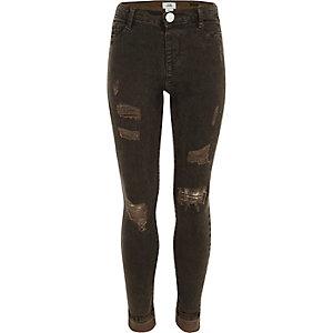 Molly - Kaki ripped jeans met oliewash voor meisjes
