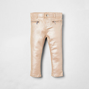 Mini girls pink Molly glitter skinny jeans