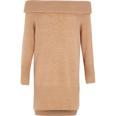 River Island Camelkleurige trui-jurk met bardothals voor meisjes