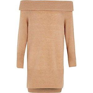 Girls camel bardot neck jumper dress