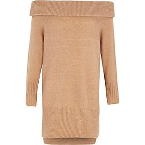 Robe pull Bardot marron clair pour fille