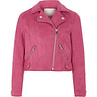 Girls hot pink faux suede biker jacket