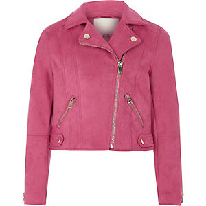 Girls hot pink faux suede biker jacket