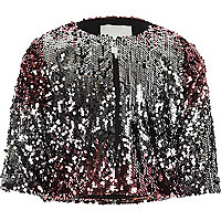 Girls pink metallic ombre sequin cape jacket