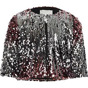 Jacke in Pink-Metallic mit Paillettenverzierung