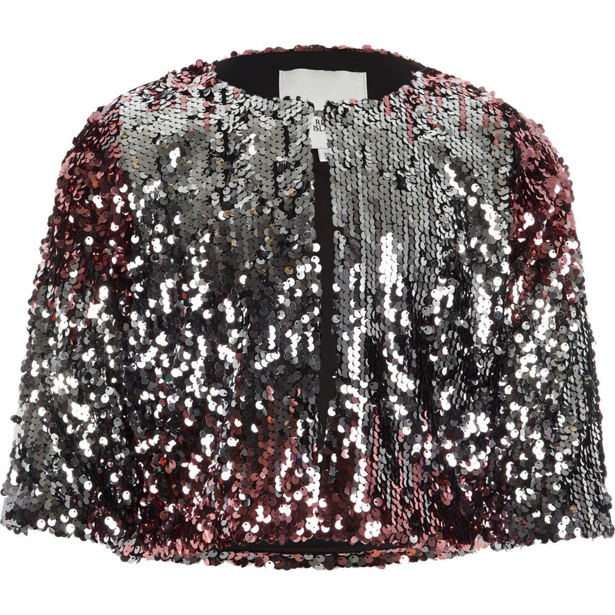Girls pink metallic ombre sequin cape jacket