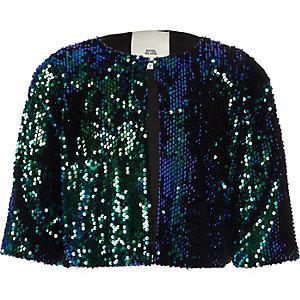 Jacke in Grün-Metallic mit Paillettenverzierung