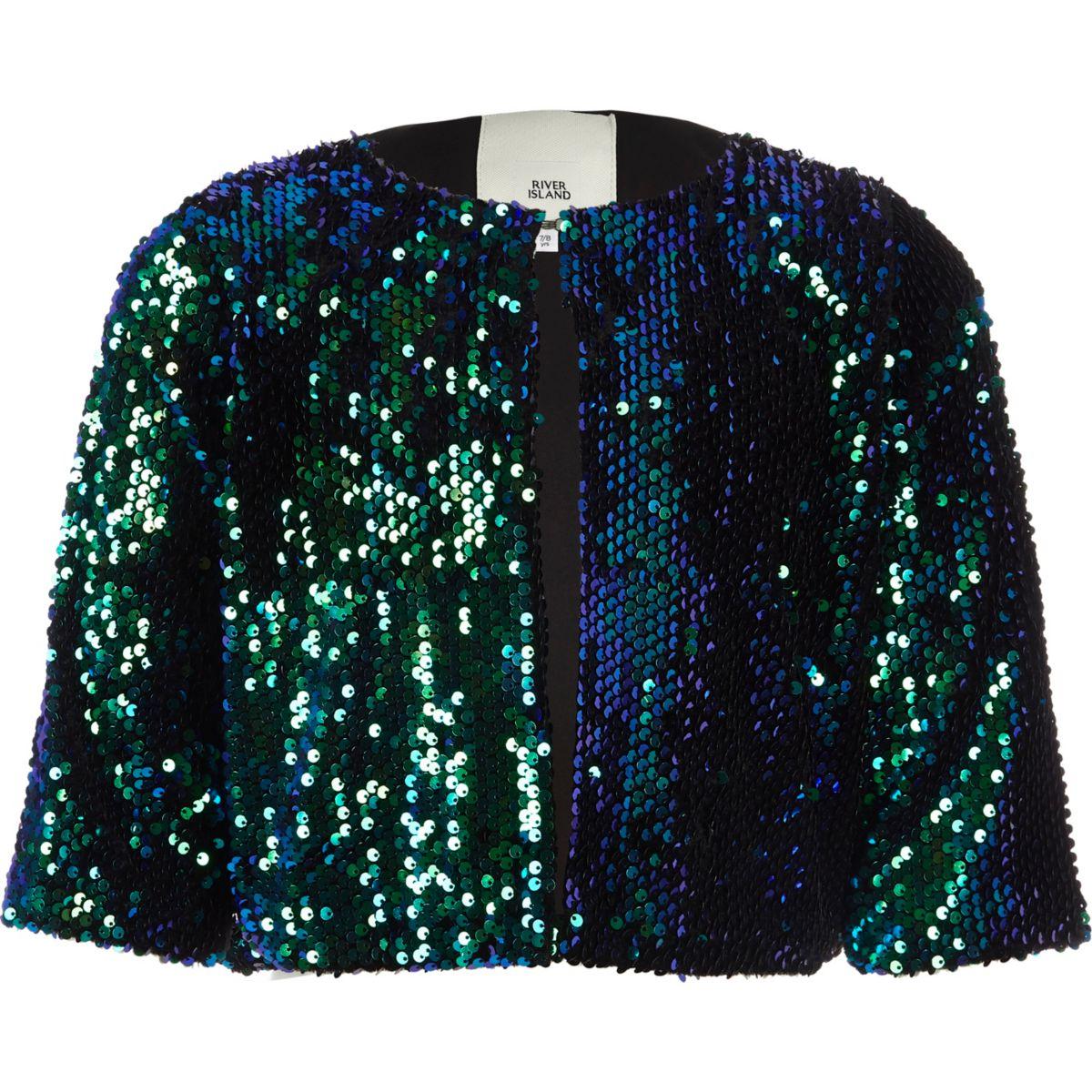 Girls green metallic ombre sequin cape jacket