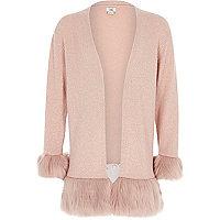 Girls pink faux fur hem and cuff cardigan