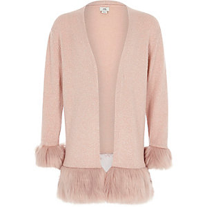 Girls pink faux fur hem and cuff cardigan