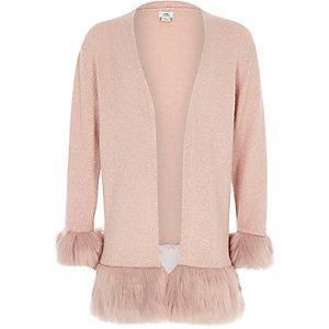 Roze vest met rand van imitatiebont en manchetten voor meisjes