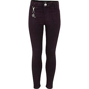 Girls purple glitter coated Molly jeggings
