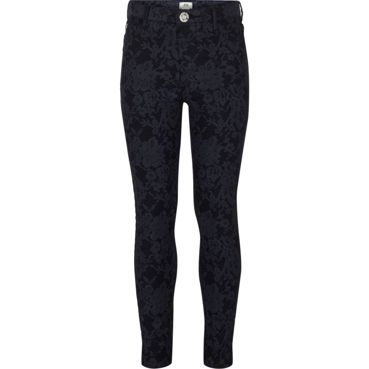 Girls dark blue floral lace Molly jeggings