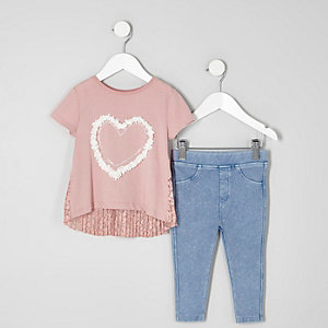 Mini girls pink lace T-shirt jeggings outfit