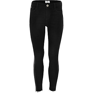 Girls black snakeskin Amelie skinny jeans