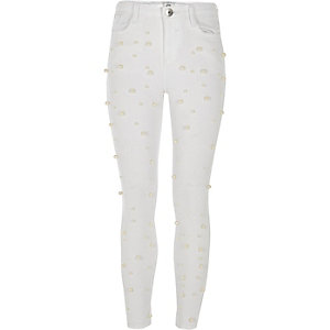 Girls white Amelie pearl super skinny jeans