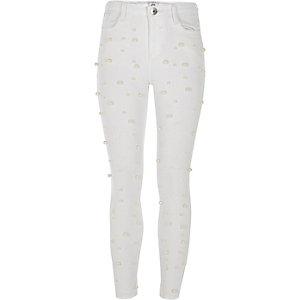 Girls white Amelie pearl super skinny jeans