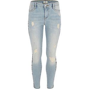 Amelie - Blauwe skinny jeans met luipaardprint voor meisjes