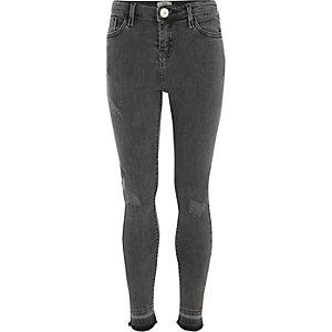 Zwarte skinny-fit jeans met losse zoom voor meisjes