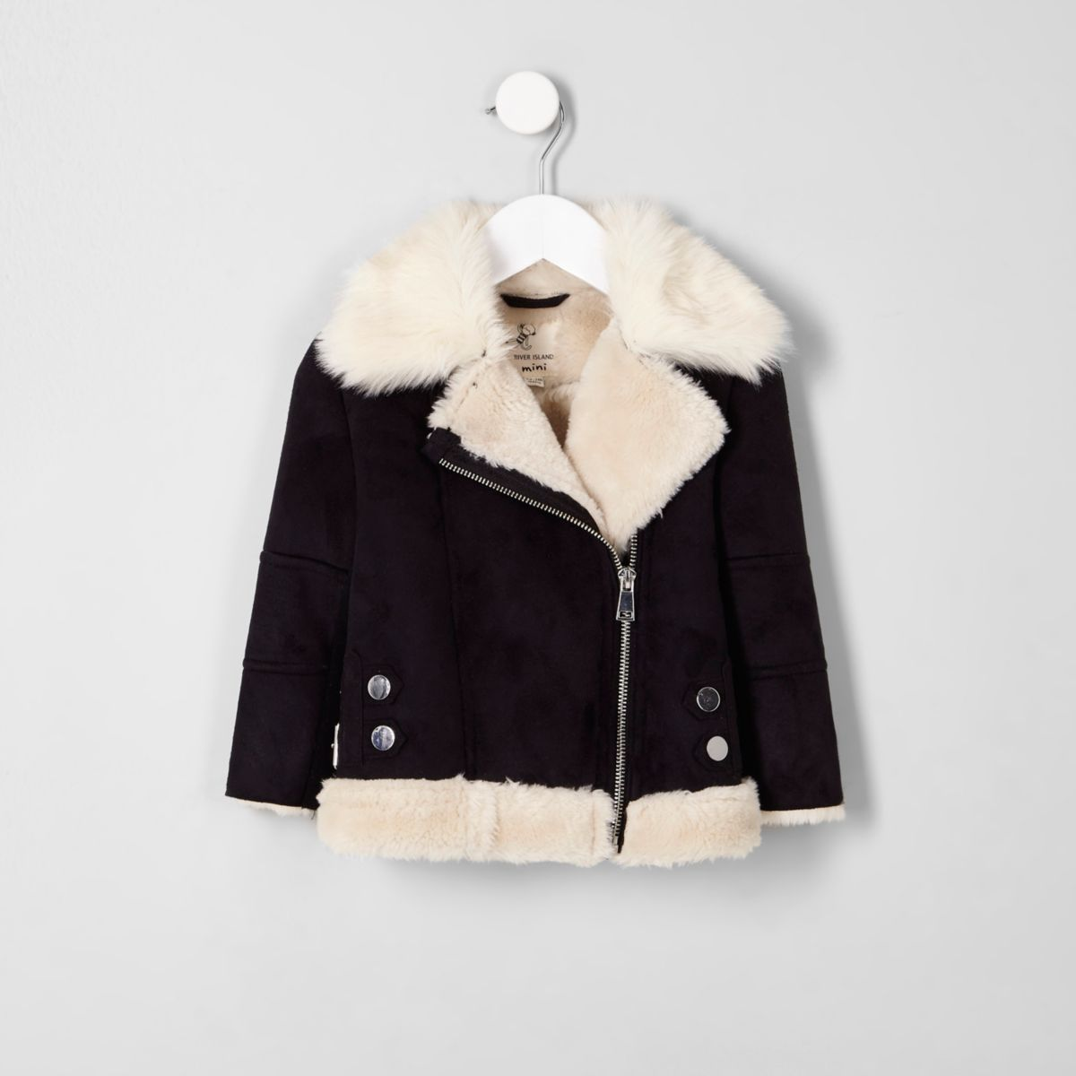 Mini girls black faux fur trim aviator jacket