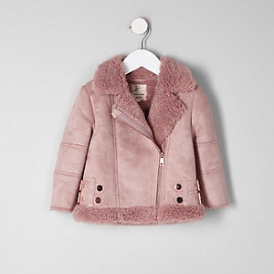 Mini girls pink faux suede aviator jacket