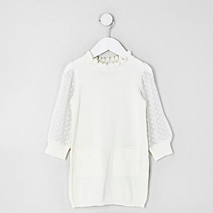 Mini girls cream knit dobby mesh sleeve dress