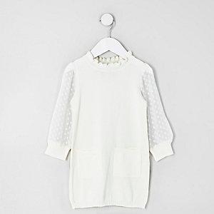 Mini - Crème gebreide jurk met dobby mesh mouwen voor meisjes