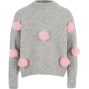 Girls grey pom pom front knit jumper