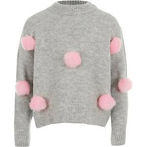 Grijze pullover met pompons aan de voorkant voor meisjes