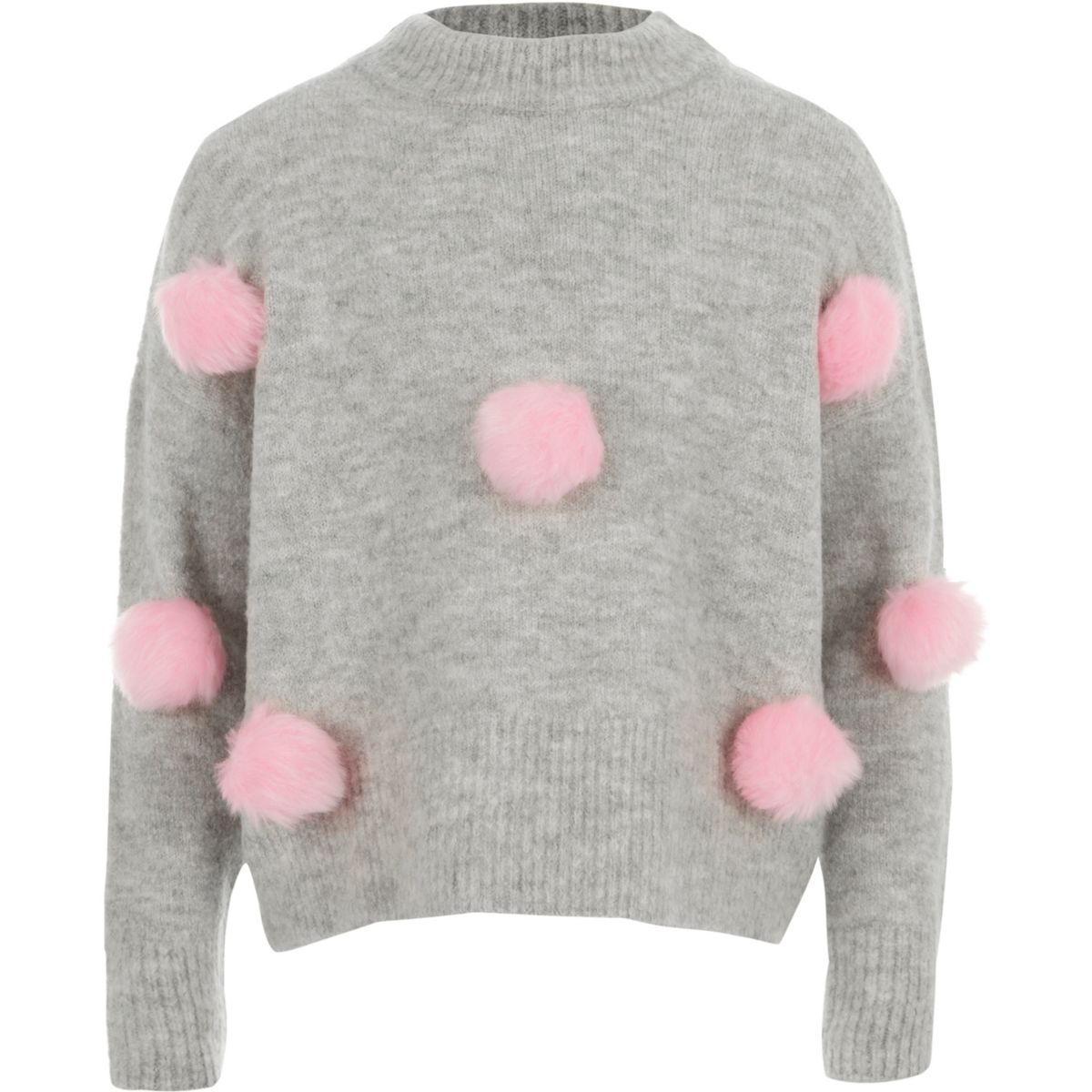 Girls grey pom pom front knit sweater