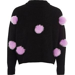 Girls black pom pom front knit jumper