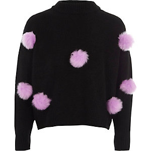 Girls black pom pom front knit jumper