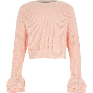 Girls pink frill flare cuff knit jumper