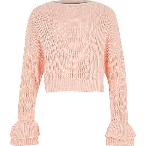 Roze gebreide pullover met wijduitlopende mouwen en ruches voor meisjes