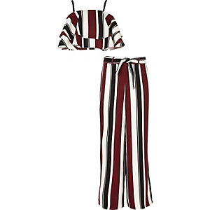 Girls red stripe palazzo pants and top outfit
