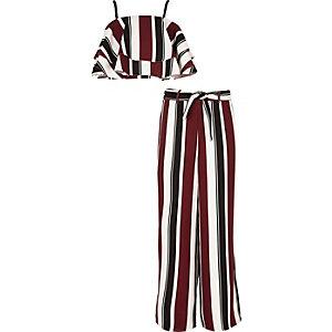 Ensemble top et pantalon palazzo rayé rouge pour fille