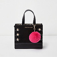 Girls black military pom pom tote bag
