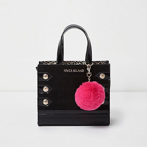 Girls black military pom pom tote bag