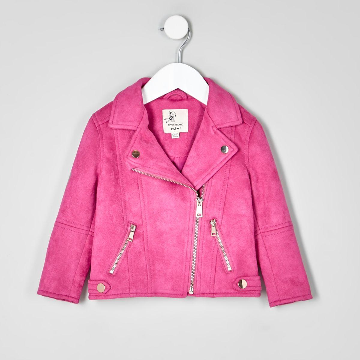 Mini girls dark pink faux suede biker jacket - Baby Girls Coats ...