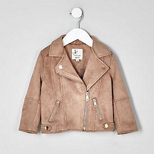 Mini girls brown faux suede biker jacket
